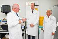 17 May 2016 - London, England - Prince William Duke of Cambridge (centre) with Head of Research Centre Professor Mitch Dowsett (left) and Ralph Lauren (right) during a visit to the Royal Marsden NHS Foundation Trust, in Chelsea, west London, as he marks the opening of the hospital's new centre for breast cancer research named after the fashion designer. The Ralph Lauren Centre for Breast Cancer Research was funded by supporters of the Royal Marsden Cancer Charity, including a generous donation from the designer. William has a long association with the hospital, he became the Royal Marsden's president in 2007, following in the footsteps of his mother Diana, Princess of Wales, who held the same position from 1989 until her death in 1997. Photo Credit: ALPR/AdMedia
