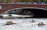(Cambridge Ma 101913)  The women Collegiate Four race coming into the final stretch,  the 2013 Head of the Charles Regatta, Saturday on the Charles River in Cambridge. (Jim Michaud Photo) For Sunday