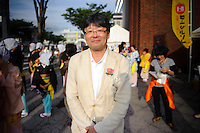"Tawara Shinichi, Managing Director of the B1 organizing committee, B1 Grand Prix, Yokote, Akita Pref, Japan, September 19 2009. The B1 Grand Prix is a competition for inexpensive and tasty regional dishes from around Japan. The B stands for ""b-class gourmet"". In 2009 it was held in the northern Japan city of Yokote."