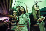 Group of young people, several hundred of them, were taking the party train from Croatian capital Zagreb to Serbian capital Belgrade. They came for a weekend to enjoy the nightlife and touristic offer of Serbian capital. Photo by Marko Risovic / Kamerades for N-Ost.
