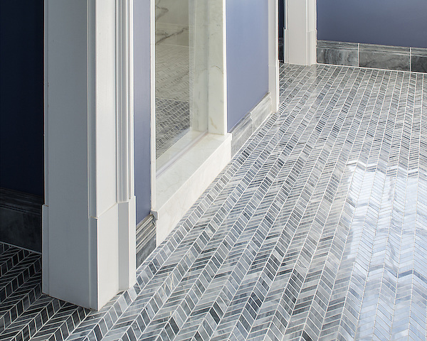 Chevron, a handmade mosaic shown in polished Greystoke, is part of The Studio Line of Ready to Ship mosaics.<br /> <br /> For pricing samples and design help, click here: http://www.newravenna.com/showrooms/