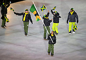 9th February 2018, Pyeongchang, South Korea; 2018 Winter Olympic Games; PyeongChang Olympic Stadium; Ladies Bobsleigh rider Audra Segree leading the national team during the Opening ceremony carrying flag of Jamaica