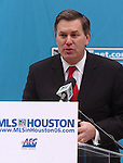 AEG President and CEO Timothy Leiweke addresses the media during a news conference welcoming Major League Soccer to Houston outside Houston City Hall Friday Dec. 16,2005.