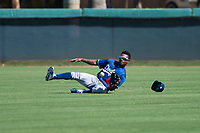 Los Angeles Dodgers center fielder Aldrich De Jongh (63) makes a sliding catch during an Instructional League game against the San Diego Padres at Camelback Ranch on September 25, 2018 in Glendale, Arizona. (Zachary Lucy/Four Seam Images)