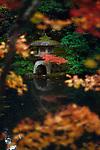 Japanese stone lantern, Ishidoro at Tenjuan Temple pond Zen garden. Example of Japanese Wabi-Sabi aesthetics. Nanzen-ji temple complex in Sakyo-ku, Kyoto, Japan 2017 Image © MaximImages, License at https://www.maximimages.com