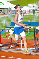 Tyler Schumaker, a Notre Dame sophomore runs a leg of the 4x400 prelims at the 2014 MSHSAA Class 3-4 State Track and Field Championships, Friday, May 30, in Jefferson City, MO.