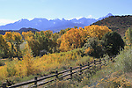 Pasture and wood fence in the Senffels Range near Telluride, Colorado, USA.