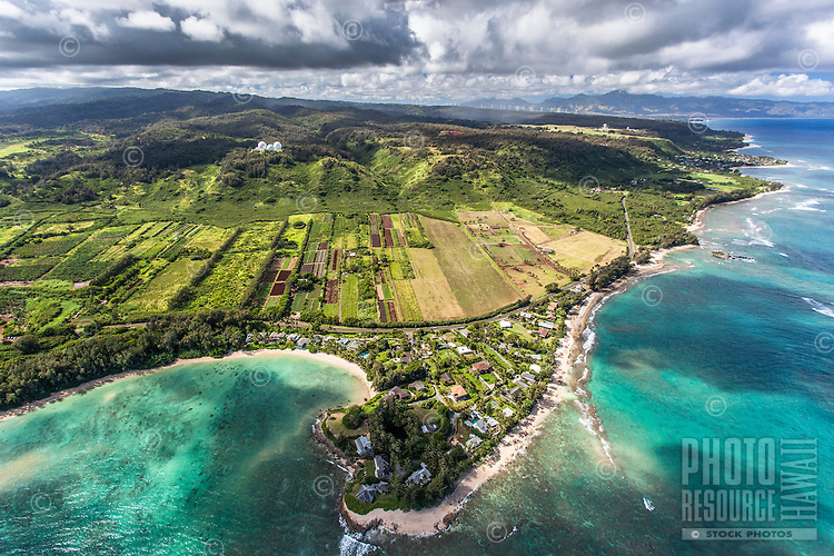 An aerial view of Kawela Bay Beach Park, North Shore, O'ahu.