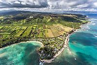 An aerial view of Kawela Bay Beach Park, North Shore, O'ahu.