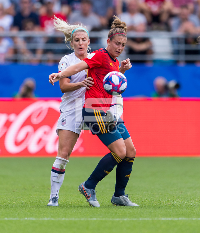 REIMS,  - JUNE 24: Julie Ertz #8 fights for the ball with Alexia Putellas #11 during a game between NT v Spain and  at Stade Auguste Delaune on June 24, 2019 in Reims, France.