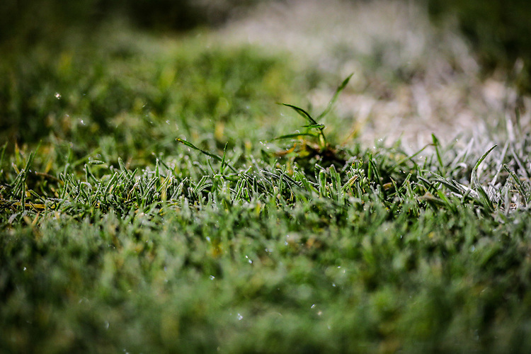 Frost forms on the grass at Nethermoor Park<br /> <br /> Photographer Alex Dodd/CameraSport<br /> <br /> The Emirates FA Cup Second Round - Guiseley v Fleetwood Town - Monday 3rd December 2018 - Nethermoor Park - Guiseley<br />  <br /> World Copyright &copy; 2018 CameraSport. All rights reserved. 43 Linden Ave. Countesthorpe. Leicester. England. LE8 5PG - Tel: +44 (0) 116 277 4147 - admin@camerasport.com - www.camerasport.com