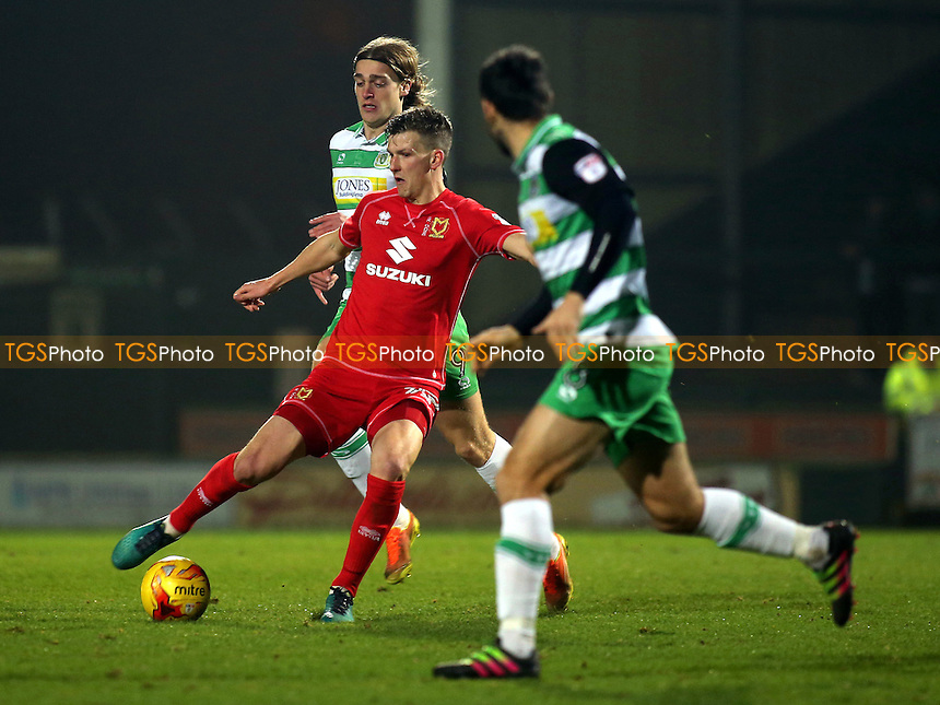 Paul Downing of MK Dons in possession during Yeovil Town vs MK Dons, Checkatrade Trophy Football at Huish Park on 6th December 2016