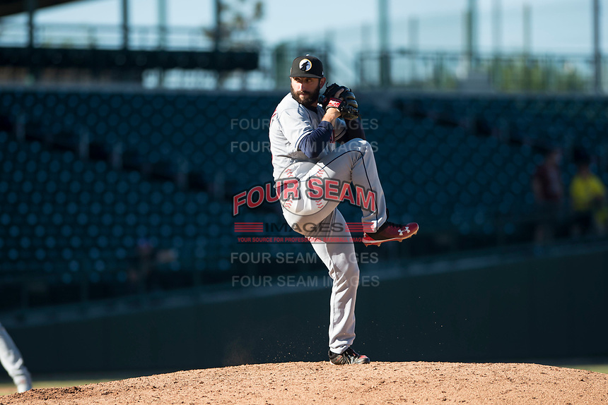 Glendale Desert Dogs relief pitcher Rob Kaminsky (28), of the Cleveland Indians organization, delivers a pitch during an Arizona Fall League game against the Mesa Solar Sox at Sloan Park on October 27, 2018 in Mesa, Arizona. Glendale defeated Mesa 7-6. (Zachary Lucy/Four Seam Images)