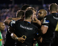 Bath Rugby's Jack Walker celebrates scoring his sides first try<br /> <br /> Photographer Bob Bradford/CameraSport<br /> <br /> European Rugby Heineken Champions Cup Group C - Bath Rugby v Harlequins - Friday 10th January 2020 - The Recreation Ground - Bath<br /> <br /> World Copyright © 2019 CameraSport. All rights reserved. 43 Linden Ave. Countesthorpe. Leicester. England. LE8 5PG - Tel: +44 (0) 116 277 4147 - admin@camerasport.com - www.camerasport.com