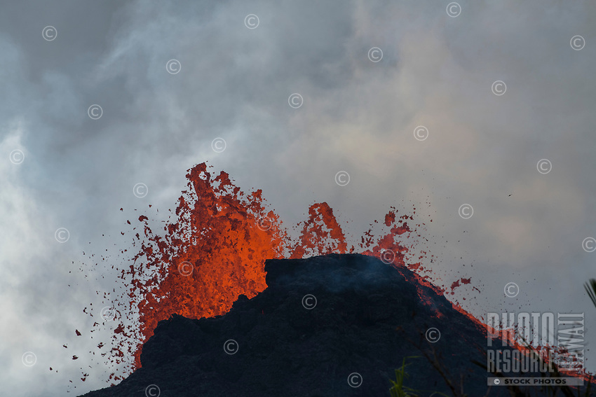 May 2018: Kilauea Volcano eruption in Leilani Estates, Puna, Big Island of Hawai'i.