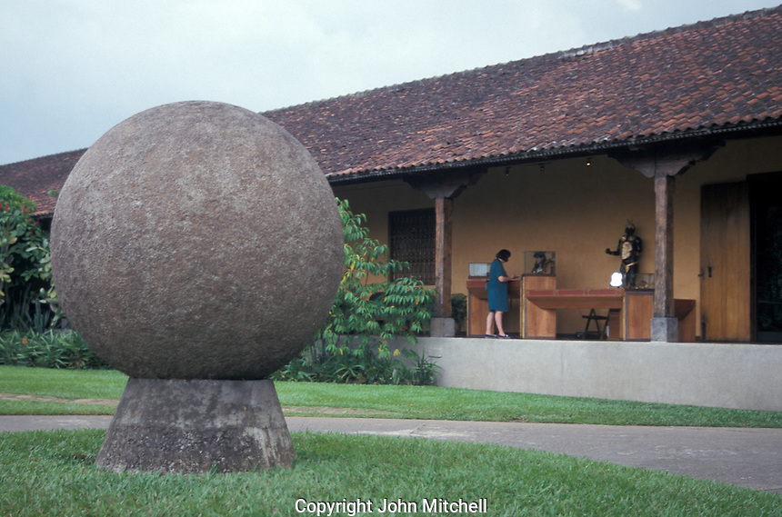 Pre-Columbian stone sphere from the Diquis region of Costa Rica on display in the courtyard of the Museo Nacional de Costa Rica in San Jose.