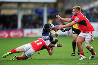 Semesa Rokoduguni of Bath Rugby is tackled by Marcelo Bosch of Saracens. Aviva Premiership match, between Bath Rugby and Saracens on December 3, 2016 at the Recreation Ground in Bath, England. Photo by: Patrick Khachfe / Onside Images