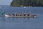 Canoe Journey, Paddle to Nisqually, 2016, Northwest tribal canoes Chehais tribe arriving in Olympia, Washington, 7-30-2016, Salish Sea, Puget Sound, Washington State, USA,