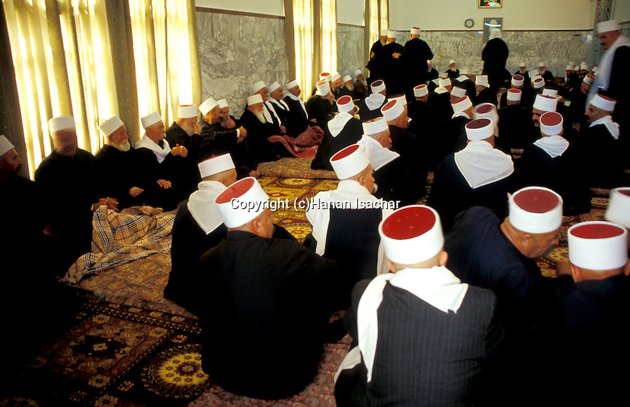 Israel, the lower Galilee. Nabi Shueib, the sacred site of the Druze, elders at the prayer hall&#xA;<br />