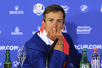 Thorbjorn Olesen (Team Europe) at the press conference after Europe win the Ryder Cup 17.5 to 10.5 at the end of Sunday's Singles Matches at the 2018 Ryder Cup 2018, Le Golf National, Ile-de-France, France. 30/09/2018.<br /> Picture Eoin Clarke / Golffile.ie<br /> <br /> All photo usage must carry mandatory copyright credit (&copy; Golffile | Eoin Clarke)