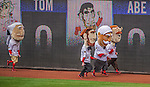 1 April 2013: The Washington Nationals Racing Presidents entertain the fans between innings featuring a new, fifth member: President Taft, at the Opening Day Game between the Miami Marlins and the Washington Nationals at Nationals Park in Washington, DC. The Nationals shut out the Marlins 2-0 to launch the 2013 season. Mandatory Credit: Ed Wolfstein Photo *** RAW (NEF) Image File Available ***