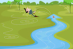 Illustrative image of businessman fishing in stream with upward arrow representing growth and profit