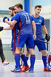 Mannheim, Germany, January 07: During the 1. Bundesliga Herren Hallensaison 2017/18 Sued  hockey match between Mannheimer HC (blue) and Nuernberger HTC (red) on January 7, 2018 at Irma-Roechling-Halle in Mannheim, Germany. Final score 7-4 (HT 2-2). (Photo by Dirk Markgraf / www.265-images.com) *** Local caption *** (L-R) Maximilian Neumann #24 of Mannheimer HC, Jossip Anzeneder #11 of Mannheimer HC Timm Haase #27 of Mannheimer HC