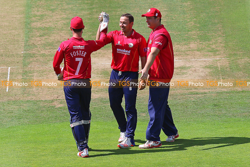 Graham Napier of Essex (C) celebrates taking the wicket of Paul Stirling during Middlesex vs Essex Eagles, Royal London One-Day Cup Cricket at Lord's Cricket Ground on 31st July 2016