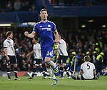 Chelsea's Gary Cahill celebrates scoring his sides opening goal during the Barclays Premier League match at Stamford Bridge Stadium.  Photo credit should read: David Klein/Sportimage