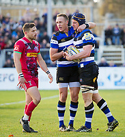 Paul Grant of Bath Rugby celebrates his try with team-mate James Wilson. Aviva Premiership match, between Bath Rugby and Harlequins on November 25, 2017 at the Recreation Ground in Bath, England. Photo by: Patrick Khachfe / Onside Images