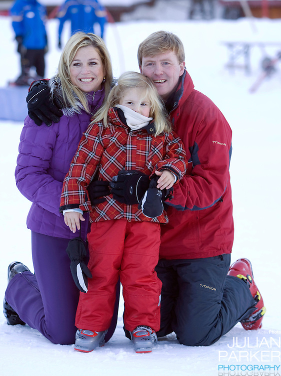 Crown Prince Willem Alexander, and Crown Princess Maxima of Holland with Daughter Princess Catharina Amalia attend a Photocall with Members of The Dutch Royal Family during their Winter Ski Holiday in Lech Austria