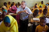 British business man and philanthropist Gordon Campbell Gray visits a classroom of students  in the compound of the Cluster resource Center of Lafaissa, Somali Region, Ethiopia on Monday November 9 2009. .The Lafaissa facility is supported by the British non governmental organization Save the Children UK.