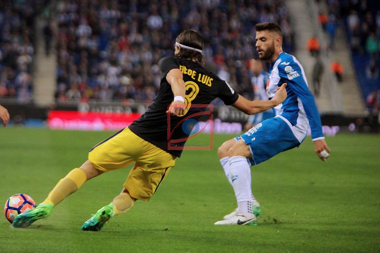League Santander 2016/2017. Game: 33.<br /> RCD Espanyol vs Atletico de Madrid: 0-1.<br /> Filipe Luis vs David Lopez.