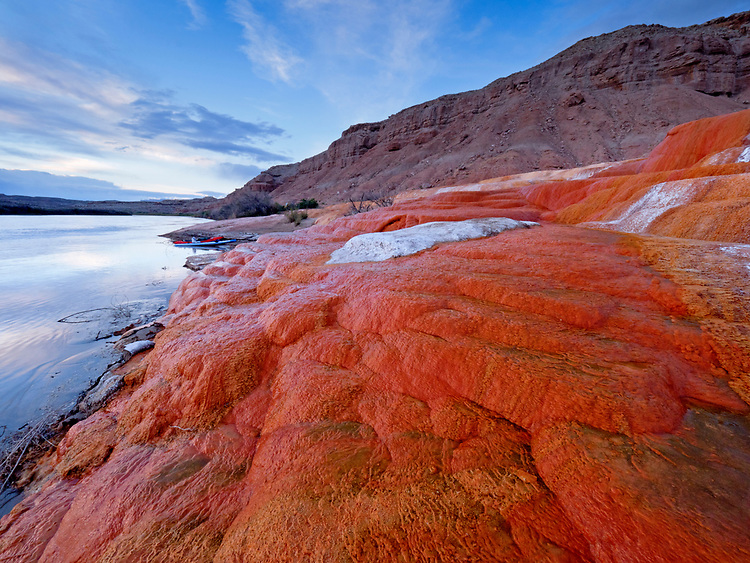 Landscape view of the travertine terraces at Crystal Geyser along the Green River in southern Utah, USA.