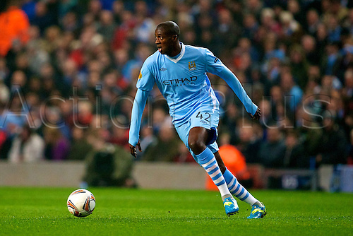 15.03.2012 Manchester, England. Manchester City's Ivory Coast midfielder Yaya Toure in action during the UEFA Europa Cup match between Manchester City v Sporting at the Etihad Stadium.