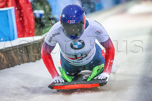 24.2.2017 Berchtesgaden - Konigssee, Germany. Action from the Women's Skeleton Runs 1+2, Lizzy YARNOLD GBR.