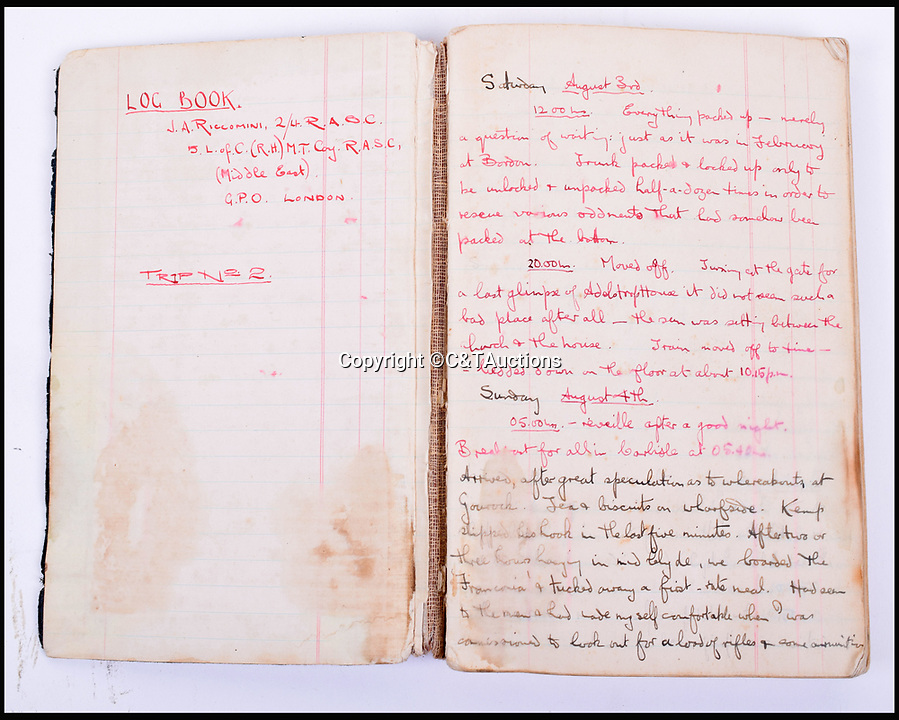 BNPS.co.uk (01202 558833)Pic: C&TAuctions/BNPS<br /> <br /> Lieutenant James Riccomini MBE's log book before his time as a prisoner of war.<br /> <br /> The remarkable story of an SAS hero who escaped captivity by jumping out of a moving train and carried out daring raids behind enemy lines before he was killed storming a German stronghold can be told after his bravery medals emerged for sale.<br /> <br /> After escaping his German captors, Lieutenant James Riccomini MBE spent four months assisting Italian resistance fighters with ammunition drops and intelligence gathering before scaling the Alps to reach neutral Switzerland when his cover was blown.<br /> <br /> Ten months later, he was dropped behind enemy lines and led a fearless ambush of a German armoured column before he was killed in action heading up an assault during the legendary Operation Tombola.<br /> <br /> His MBE, Military Cross and other medals along with letters he wrote to his wife, documents and photos are tipped to sell for £12,000.