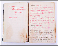 BNPS.co.uk (01202 558833)Pic: C&amp;TAuctions/BNPS<br /> <br /> Lieutenant James Riccomini MBE's log book before his time as a prisoner of war.<br /> <br /> The remarkable story of an SAS hero who escaped captivity by jumping out of a moving train and carried out daring raids behind enemy lines before he was killed storming a German stronghold can be told after his bravery medals emerged for sale.<br /> <br /> After escaping his German captors, Lieutenant James Riccomini MBE spent four months assisting Italian resistance fighters with ammunition drops and intelligence gathering before scaling the Alps to reach neutral Switzerland when his cover was blown.<br /> <br /> Ten months later, he was dropped behind enemy lines and led a fearless ambush of a German armoured column before he was killed in action heading up an assault during the legendary Operation Tombola.<br /> <br /> His MBE, Military Cross and other medals along with letters he wrote to his wife, documents and photos are tipped to sell for &pound;12,000.