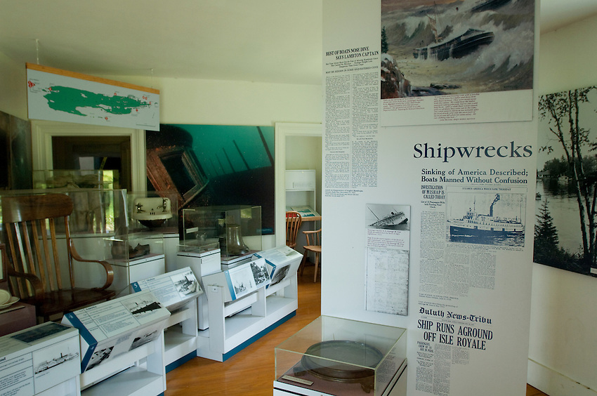 Historical displays inside the Rock Harbor Lighthouse at Isle Royale National Park.
