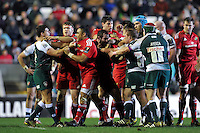 Tempers flare between the two teams. European Rugby Champions Cup match, between Leicester Tigers and Munster Rugby on December 20, 2015 at Welford Road in Leicester, England. Photo by: Patrick Khachfe / JMP