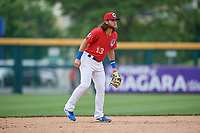 Buffalo Bisons shortstop Bo Bichette (13) during an International League game against the Indianapolis Indians on June 20, 2019 at Sahlen Field in Buffalo, New York.  Buffalo defeated Indianapolis 11-8  (Mike Janes/Four Seam Images)