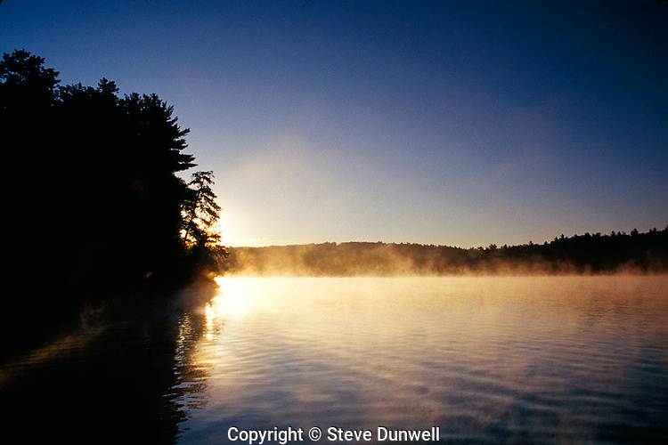 sunrise with mist, Walden Pond, Concord, MA