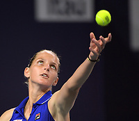 MIAMI GARDENS, FLORIDA - MARCH 25: Karolina Pliskova of the Czech Republic defeatsYulia Putintseva of Kazakhstan during day 8 of the Miami Open presented by Itau at Hard Rock Stadium on March 25, 2019 in Miami Gardens, Florida.<br /> <br /> People: Karolina Pliskova