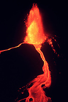 Kilauea Volcano, spewing hot, molten lave into the air as high as 1,500 ft during the July 28, 1984 eruption, Hawaii Volcanoes National Park, Big Island, Hawaii, USA