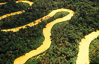 Amazon rain forest, Brazil. Aerial view of river and forest at Acre State.