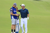 Paul Casey (ENG) and caddy John Mclaren share a joke as they wait to play his 2nd shot on the 14th hole during Thursday's Round 1 of the 2017 PGA Championship held at Quail Hollow Golf Club, Charlotte, North Carolina, USA. 10th August 2017.<br /> Picture: Eoin Clarke | Golffile<br /> <br /> <br /> All photos usage must carry mandatory copyright credit (&copy; Golffile | Eoin Clarke)