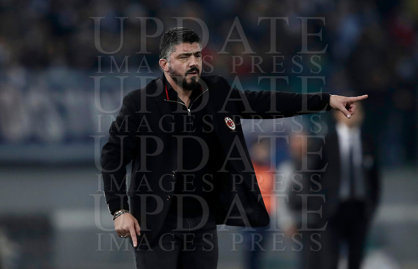 Football Soccer: Tim Cup semi-final second Leg, SS Lazio vs AC Milan, Stadio Olimpico, Rome, Italy, February 28, 2018.<br /> Milan's coach Gennaro Gattuso gestures during the Tim Cup semi-final football match between SS Lazio vs AC Milan, at Rome's Olympic stadium, February 28, 2018.<br /> UPDATE IMAGES PRESS/Isabella Bonotto