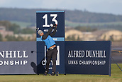 5th October 2017, The Old Course, St Andrews, Scotland; Alfred Dunhill Links Championship, first round; Aaron Rai of England tees off on the thirteenth hole on the Old Course, St Andrews at the Alfred Dunhill Links Championship