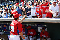 Philadelphia Phillies Chase Utley #26 signs autographs for fans before a scrimmage vs the Florida State Seminoles  at Bright House Field in Clearwater, Florida;  February 24, 2011.  Philadelphia defeated Florida State 8-0.  Photo By Mike Janes/Four Seam Images