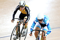 Louis Hodgkinson of Wellington (L) and Sam Upton of Auckland compete in the U17 Boys Sprint race  at the Age Group Track National Championships, Avantidrome, Home of Cycling, Cambridge, New Zealand, Friday, March 17, 2017. Mandatory Credit: © Dianne Manson/CyclingNZ  **NO ARCHIVING**